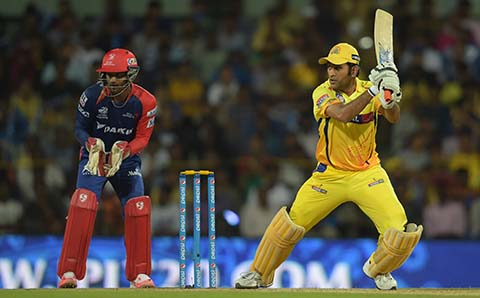 Chennai: : Chennai Super Kings captain MS Dhoni in action during an IPL-2015 match between Chennai Super Kings and Delhi Daredevils at MA Chidambaram Stadium, in Chennai, on April 9, 2015. (Photo: IANS)