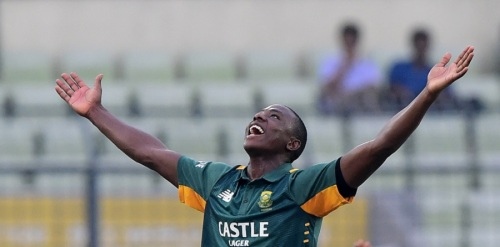 South African cricketer Kagiso Rabada celebrates the wicket of Bangladesh cricketer Mohammad Mahmudullah during the first One-Day International match between Bangladesh and South Africa at the Sher-e-Bangla National Cricket Stadium in Dhaka on July 10, 2015.   AFP PHOTO/ Munir uz ZAMAN        (Photo credit should read MUNIR UZ ZAMAN/AFP/Getty Images)